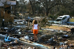 Photo: Jez Coulson/Insight/PanosKayla Watson 9 years old returns with her parents to find her home in Pascagoula on the Gulf Coast in Alabama entirely destroyed by the hurricane and its tidal surge. The families car is now in their pool.