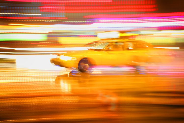 Yellow Cab on a Rainy Night – 23rd St NYC