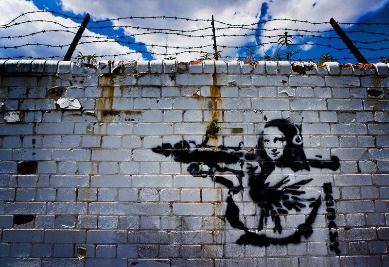 Banksy Mona Lisa with RPG : Docklands : London