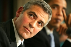 Photo: JEZ COULSON/INSIGHT/PANOS (917 309 5439)George Clooney joined Democrat Senator Barak Obama and Republican Senator Sam Brownback at a press conference today at the National Press Club. They called on Americans to attend 'Save Darfur: Rally's to Stop Genocide' across the country on Sunday. They also called on the US government and other NATO countries and UN security council members to help end the genocide in Darfur. Clooney has just returned from a trip to Darfur where he saw for himself the tragic effects of the genocide carried out by the government of Sudan with its troop's in helicopter gunship's and with it's proxy militias on horse back: 'The Janjaweed'. It is estimated that up to 300,000 may have already died and 3.5 million who have fled are now dependent on foreign aid for their survival.