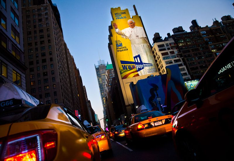 Towering Figure of The Pope Arrives in New York City : 8th Av : Manhattan