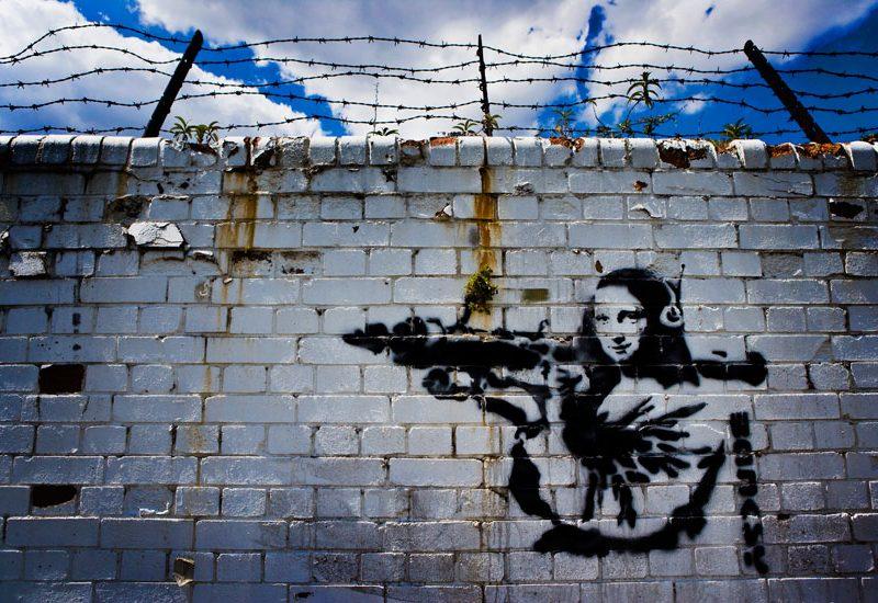 Banksy Mona Lisa with RPG : Docklands : London