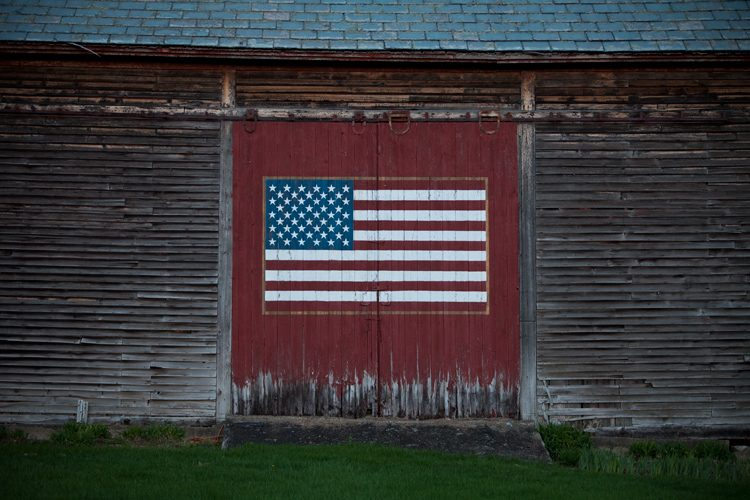 Flag on the Barn Door : Stamford : Vermont