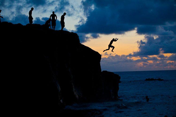 Sunset Jumpers : Waimea Bay Oahu : Hawaii