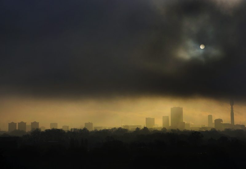 Im being followed by a Moon Shadow : Early morning View the City from Primrose Hill : London