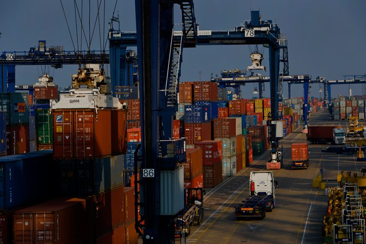 Container Port at Felixstowe : Suffolk : UK