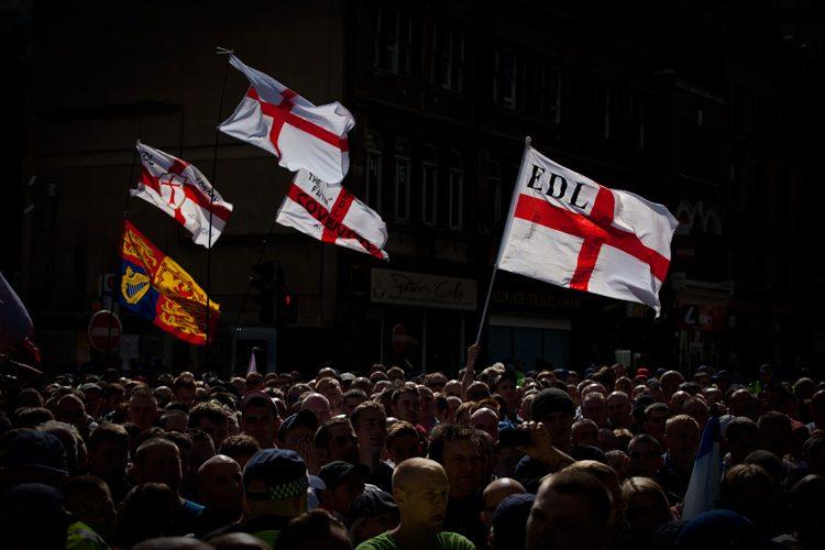 English Defence League Cross of Saint George Flags : London : UK