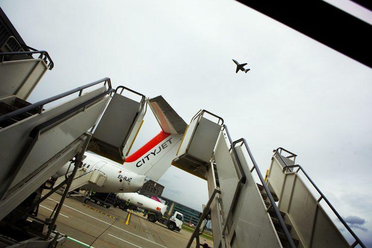 Flight to Europe : London City Airport : UK