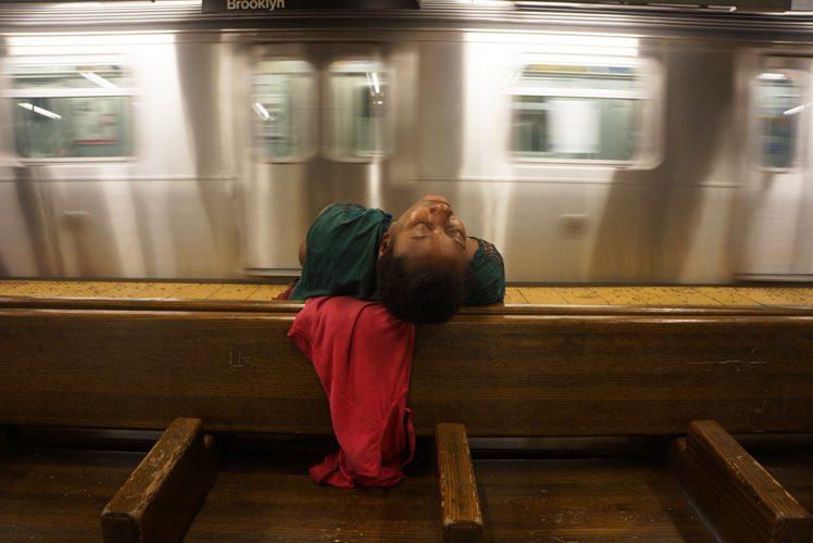 Hot Subway Sleep : L train at 14th : NYC