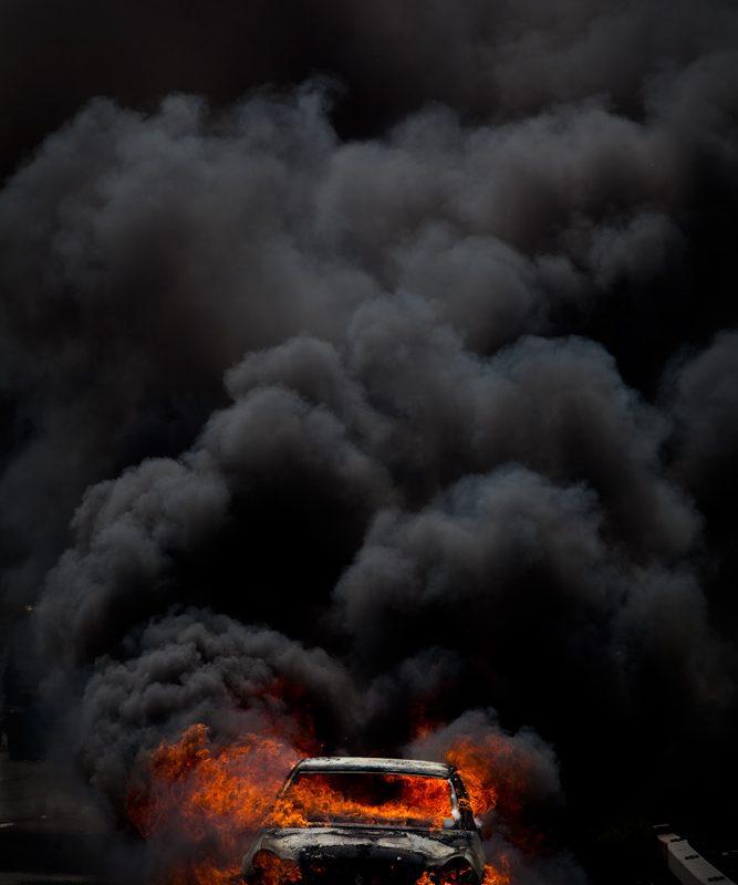 Burning Car : M1 North Bound nr Scrathwood Services : UK