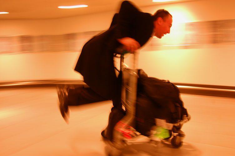 Off his Trolley : Heathrow Airport : London UK